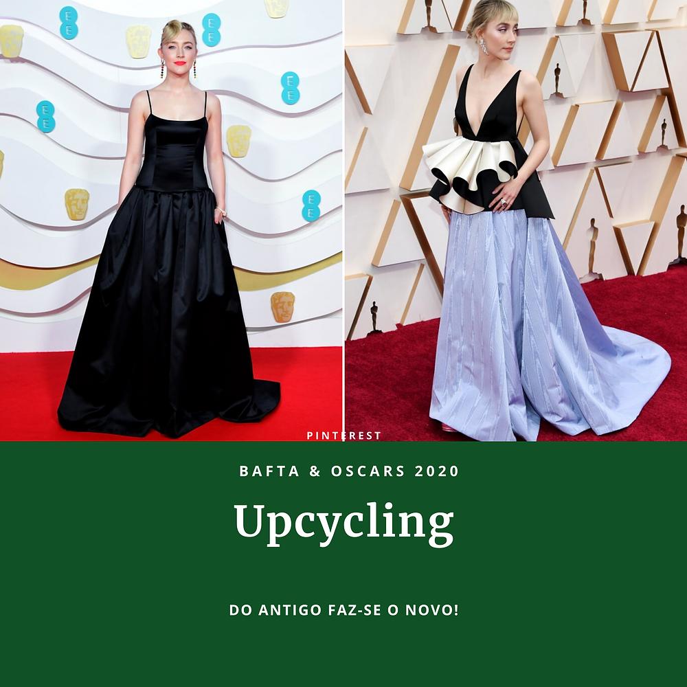 Atriz Saoirse Ronan usa vestido do Bafta 2020 reconstruído em nova peça para Oscar 2020 por Gucci.