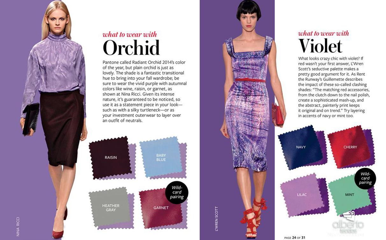 combinações para violeta e orquidea