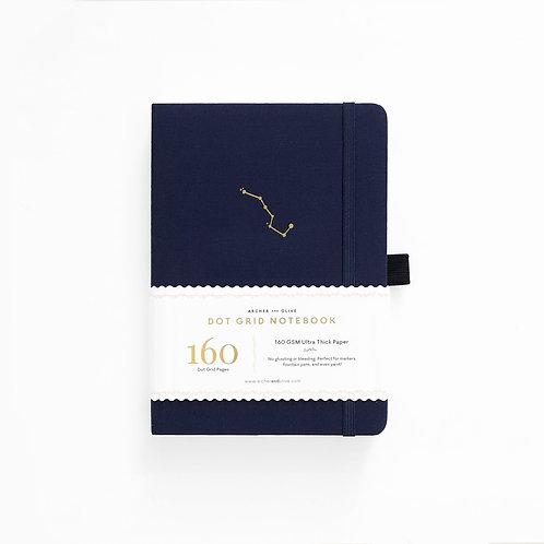 B5  Night Sky - White Dot Grid Notebook - Navy Blue - Archer and Olive