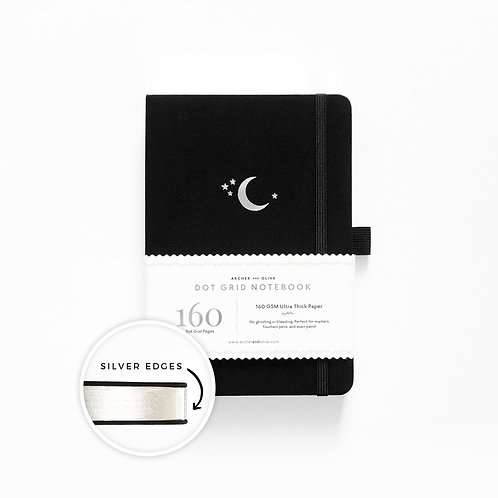 Archer and Olive A5 Silver Crescent Moon - With Silver Edges Dot Grid Notebook