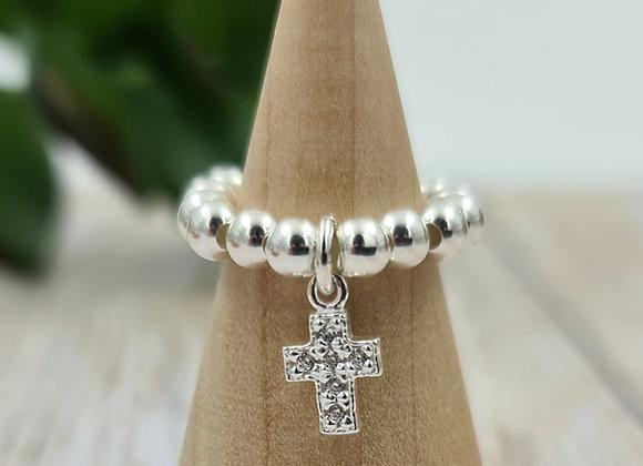 Bague argent 925 - pendentif croix zircons noirs ou cristal