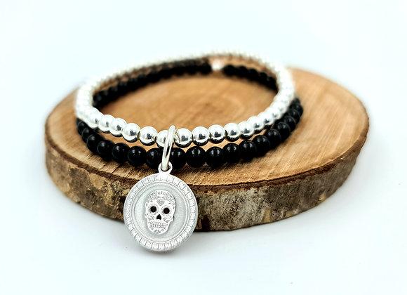 Bracelet double rang onyx et argent - pendentif argent 925