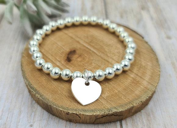 Bracelet argent 925 - perles 6mm -  coeur 15mm