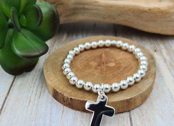 Bracelet argent - Perles 6mm - pendentif croix