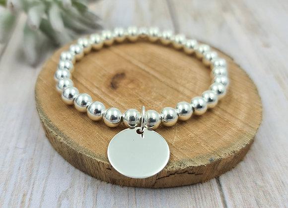 Bracelet argent 925 - perles 6mm - médaille 17mm