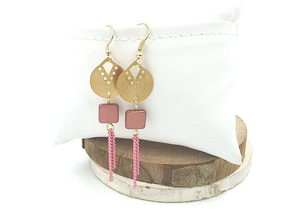 SHANI - Boucles gold filled et perle en verre de bohème rose poudré