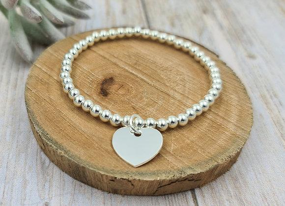 Bracelet argent 925 - perles 4mm -  coeur 15mm