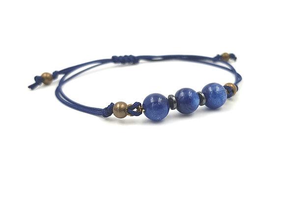 Bracelet cordon réglable et perles de Cyanite