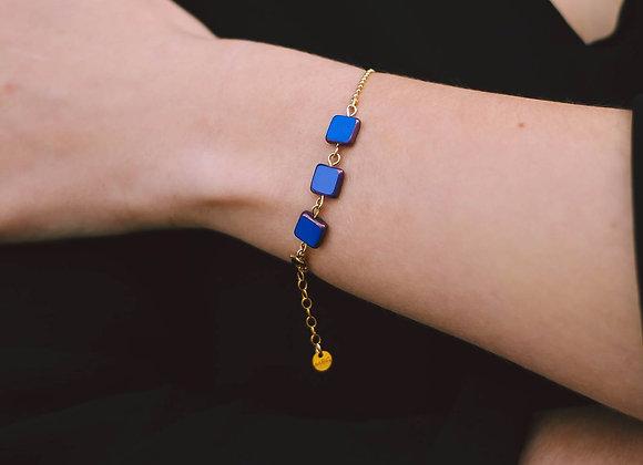 GIULIA  -  Bracelet gold filled et perle carrée en verre de bohème