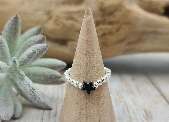 Bague argent 925  - perles 2,5mm - intercalaire étoile hématite