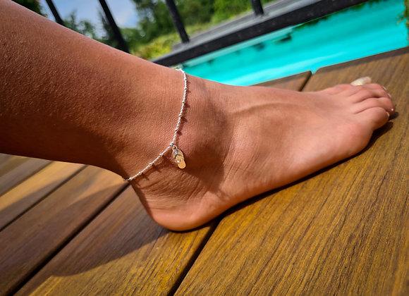 Chaîne de cheville argent 925 - pendentif tong