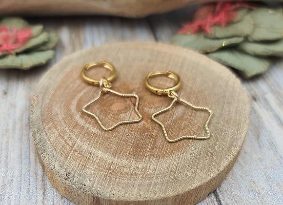 Boucles dormeuses rondes gold filled Pendentif ETOILE