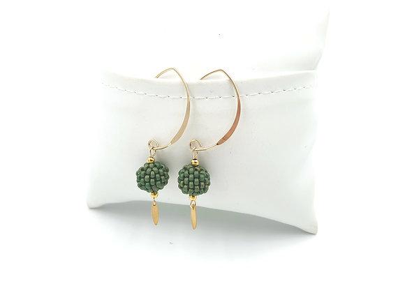 FANI vert anglais - Boucles crochet long gold filled et perles tissées à