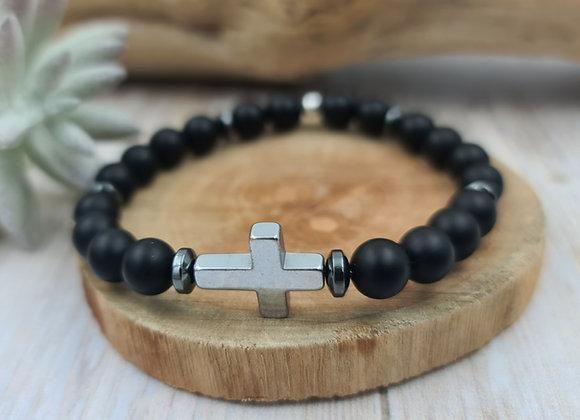 Onyx mat et croix  hématite