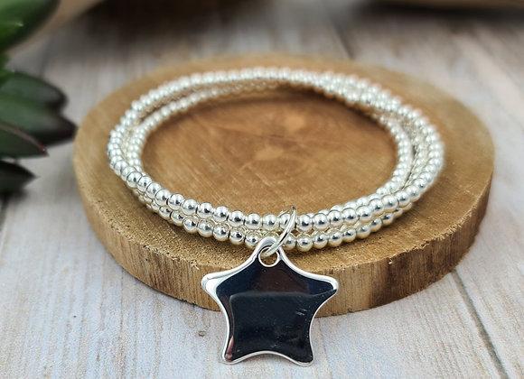 Bracelet 3 rangs argent - Perles 3mm - pendentif étoile bombée