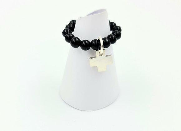 Bague onyx et argent 925  - pendentif croix