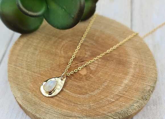 Collier court gold-filled pendentif pierre de lune