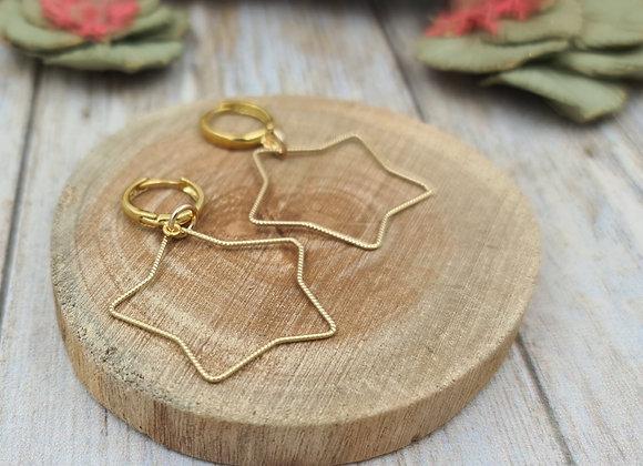 Boucles dormeuses rondes gold filled Pendentif ETOILE grand modèle