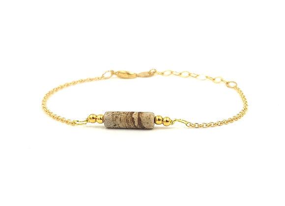 CALI Beige-  Bracelet gold filled et perle cylindrique de Jaspe Paysage