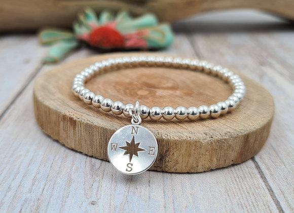 Bracelet argent - Perles 4mm - pendentif étoile boussole