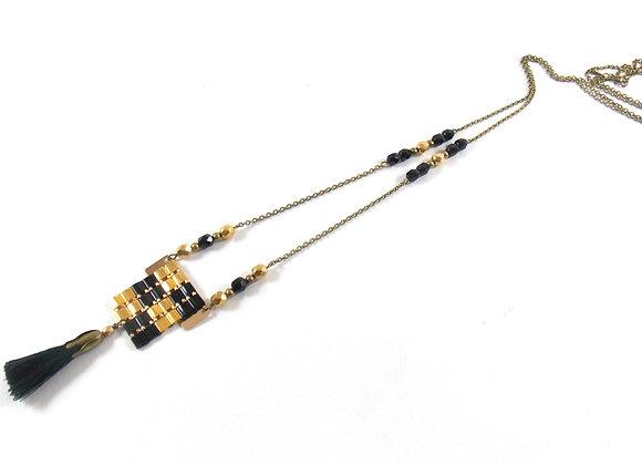 Sautoir NIL black and gold - Sautoir perles tissées et pompon
