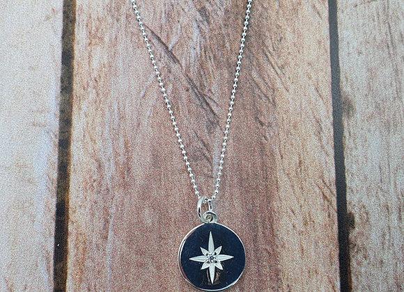 collier court en argent 925 - pendentif rond étoile polaire