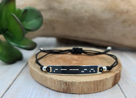 Bracelet cordon femme -  gourmette AMOUR en morse