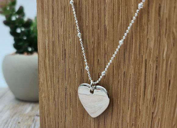 Collier court en argent 925 - chaîne perlée pendentif coeur bombé