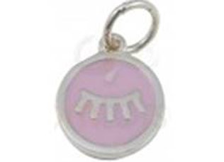 Bracelet cordon  - Pendentif cils rose émaillé et argent 925