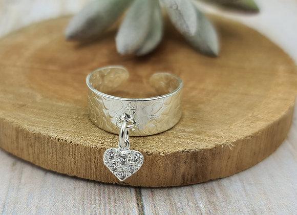 Bague martelée argent 925 réglable - pendentif coeur zircon cristal