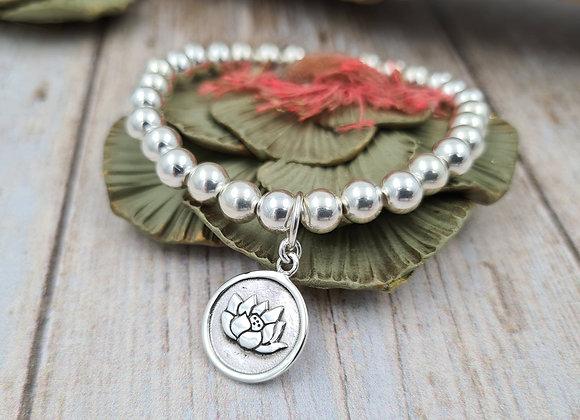 Bracelet argent - Perles 6mm - pendentif fleur de lotus