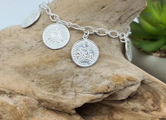 Bracelet argent -  5 médailles répliques de la pièce de 1 franc