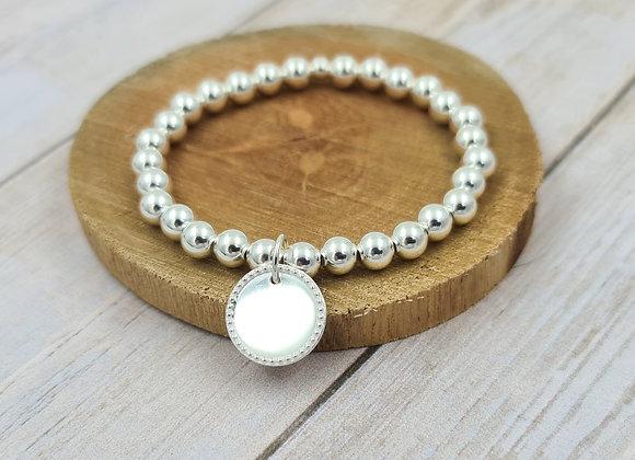 Bracelet argent 925 - perles 6mm pendentif médaille décorée