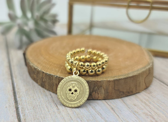 Bague gold filled 2 rangs (3 et 4mm) - pendentif tête de mort