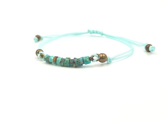 Bracelet cordon réglable et rondelles de Turquoises d'Afrique