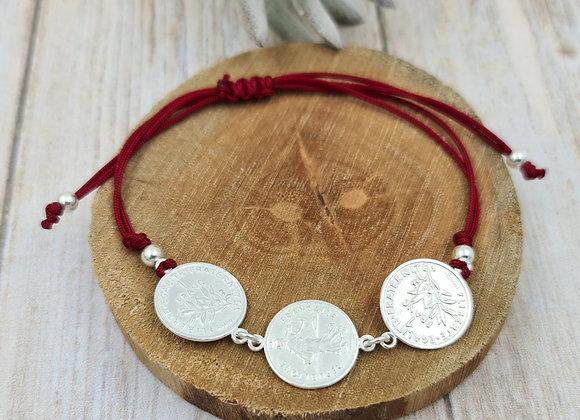 Bracelet cordon  - intercalaire médailles pièces de 1 franc argent