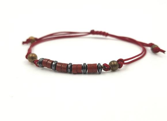 Bracelet cordon réglable et rondelles de Jaspe rouge et Hématite