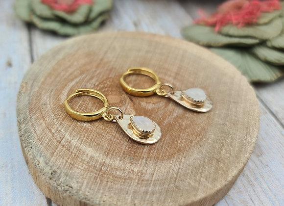 TINY Boucles gold-filled- Pendentif goutte pierre de lune