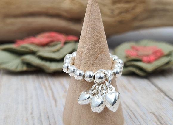 Bague perles 4mm argent 925 - grappe de coeurs