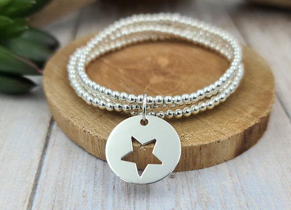 Bracelet 3 rangs argent - Perles 3mm - pendentif étoile évidée