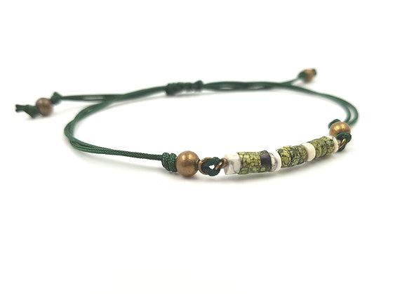 Bracelet cordon réglable et rondelles de Jaspe Serpentine - Howlite