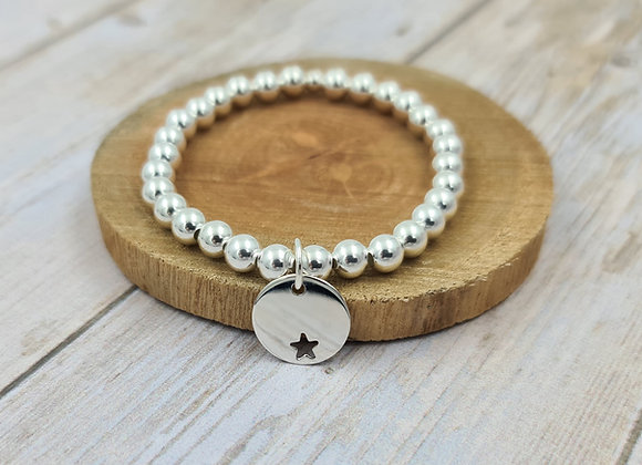 Bracelet argent 925 - perles 6mm pendentif médaille étoile décalée