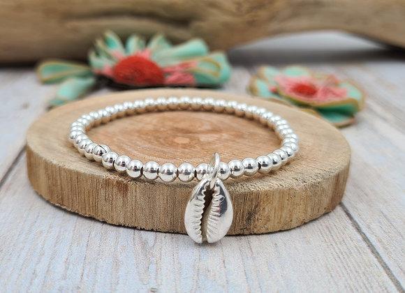 Bracelet argent - Perles 4mm - pendentif coquillage cauri