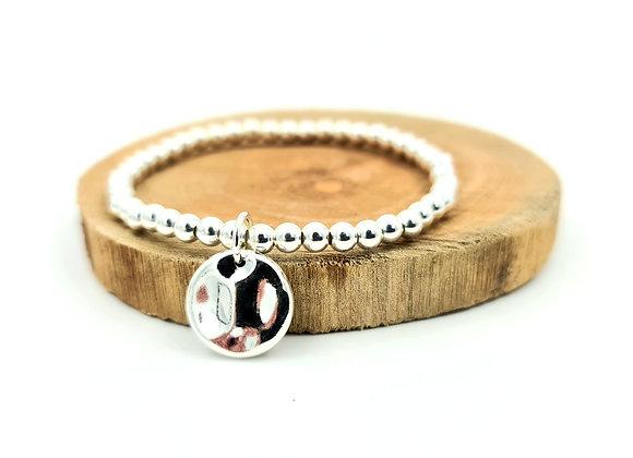 Bracelet argent - Perles 4mm - pendentif médaille martelée