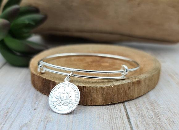 Bracelet argent - jonc et pendentif pièce de 1 franc