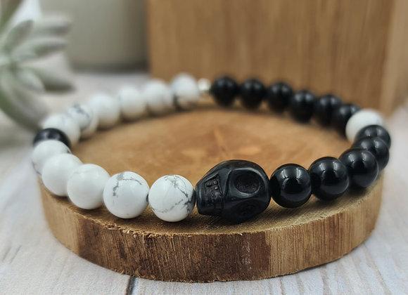 Yin & yang -Onyx- howlite et tête de mort hématite