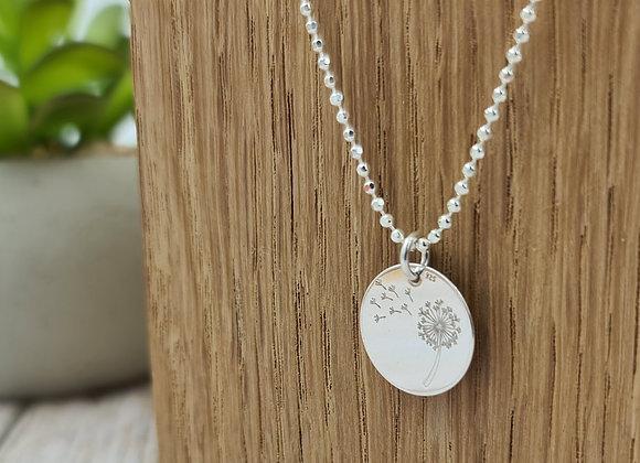 collier court en argent 925 - pendentif fleur de pissenlit
