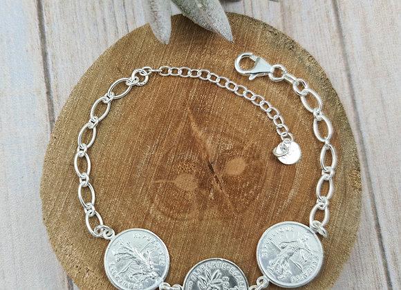 Bracelet argent - chaîne maille ovale et intercalaire pièces de 1 franc