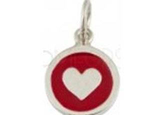 Bracelet cordon  - Pendentif coeur rouge émaillé et argent 925