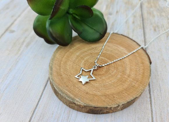 collier court en argent 925 - pendentif étoiles